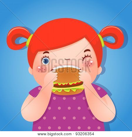 A Fat Girl Eating Delicious Hamburger