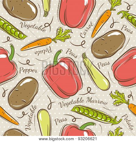 Pattern With  Potato, Pepper, Carrot