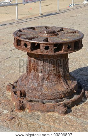 Rusty Windlass At Saint Ives, Cornwall, England