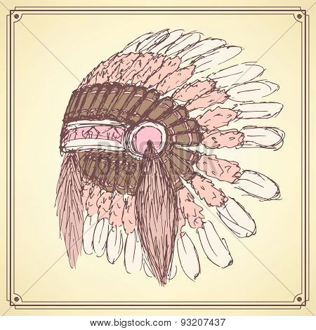 Sketch Native American's Hat In Vintage Style