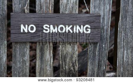 Wooden no smoking sign