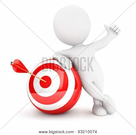3d white people arrow in sphere target