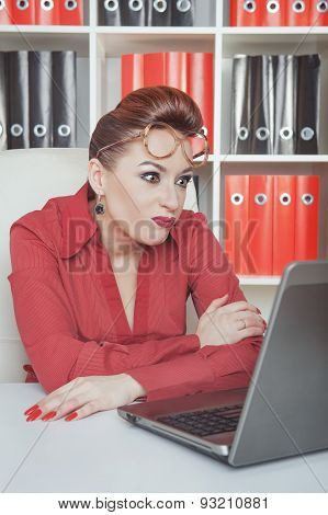 Crazy Business Woman In Glasses Working