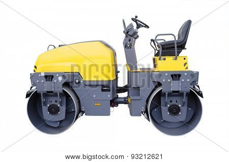 The image of a road rollers under the white background