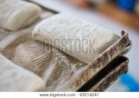 Yummy Fresh Raw Ciabatta Loaf On Tray