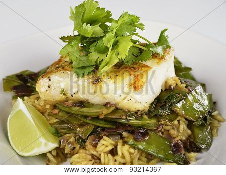 Cod Fish Fillets With Rice and Peas