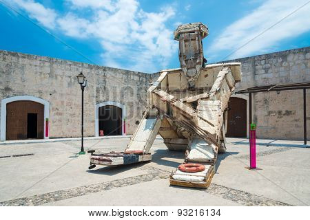 HAVANA,CUBA - MAY 30,2015 : Art installation by Kcho, a well known cuban artist at the Havana Biennale