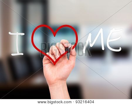 Man hand writing I Love Me on visual screen.
