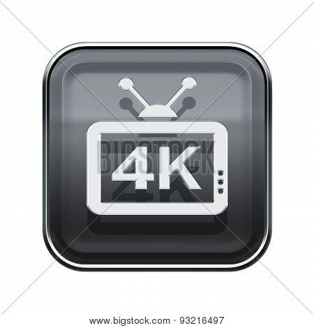 4K Icon Glossy Grey, Isolated On White Background
