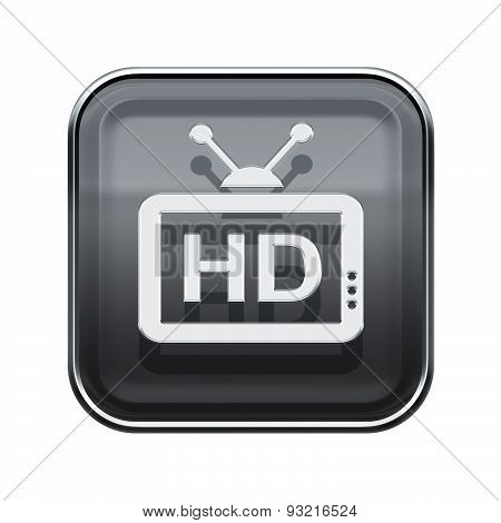 Hd Icon Glossy Grey, Isolated On White Background