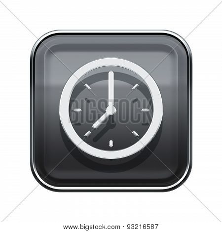 Clock Icon Glossy Grey, Isolated On White Background