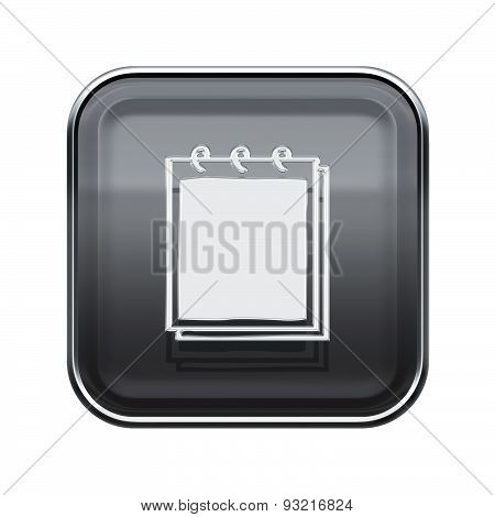 Notebook Icon Glossy Grey, Isolated On White Background