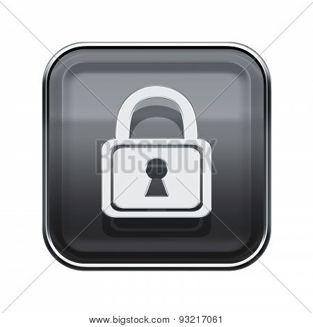 Lock Icon Glossy Grey, Isolated On White Background