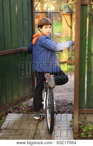 Preteen Handsome Country Boy With Bicycle Ready To Ride
