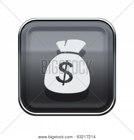 Dollar Icon Glossy Grey, Isolated On White Background