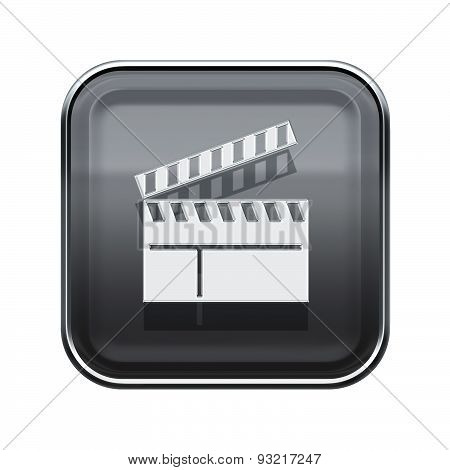 Movie Clapper Board Icon Glossy Grey, Isolated On White Background.