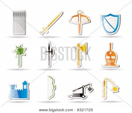 Simple medieval arms and objects icons