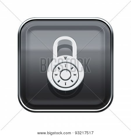 Lock Off Icon Glossy Grey, Isolated On White Background.