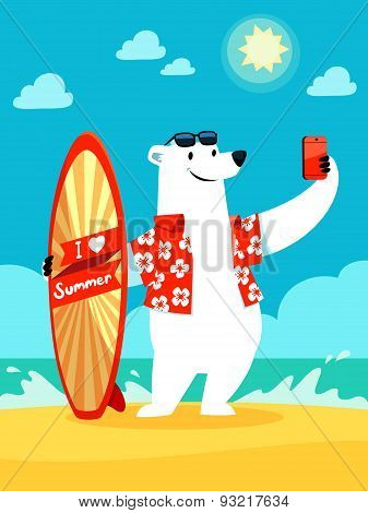 Polar Bear Take Selfie At The Beach