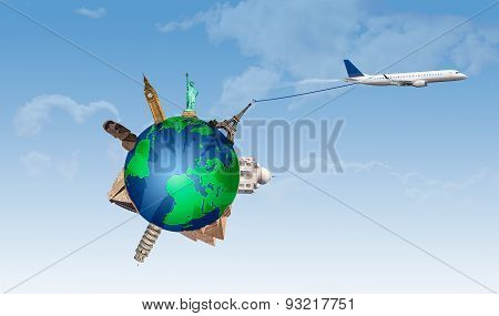 Concept Of Traveling By Plane Taking With Important Monuments