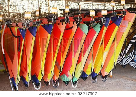 Equipment For Wind Surfing In The Hotel Resort On The Red Sea