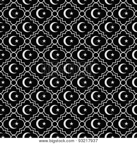 Black And White Star And Crescent Symbol Tile Pattern Repeat Background