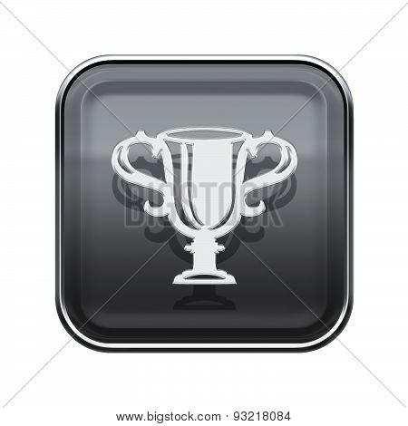 Cup Icon Glossy Grey, Isolated On White Background.