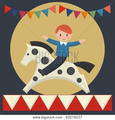 Happy Boy Sitting On  Horse In Merry-go-round