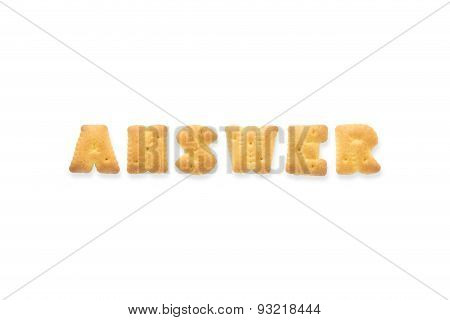 The Letter Word Answer. Alphabet  Cookie Biscuits