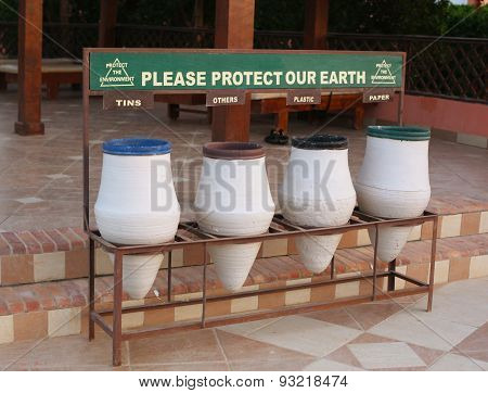 Sort Waste Garbage Bins In Hotel Resort To Keep Enviroment Clean