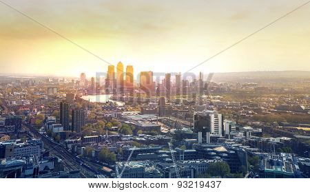 LONDON, UK - APRIL 22, 2015: London, Canary Wharf in early morning