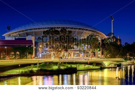 Adelaide Oval and River Torrens Foot Bridge at night. Long exposure effect.