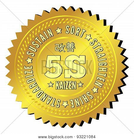 5S methodology kaizen management from japan. Sort, Straighten, Shine, Standardize and Sustain. The circular text label in the form of awards. Vector