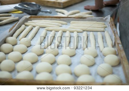 Freshly Made Dough On Prep Table