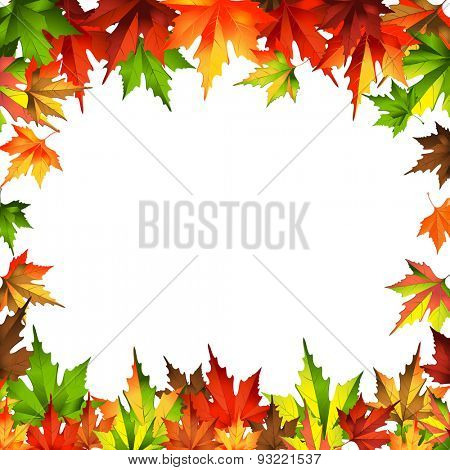 border frame autumn leaves isolated on white