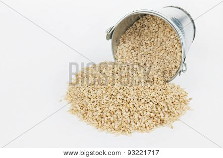 Sesame Seeds Spilling Out Of Bucket