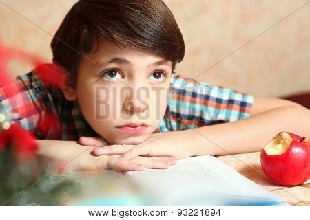 Little Preteen Boy Do His Homework Has Difficulties