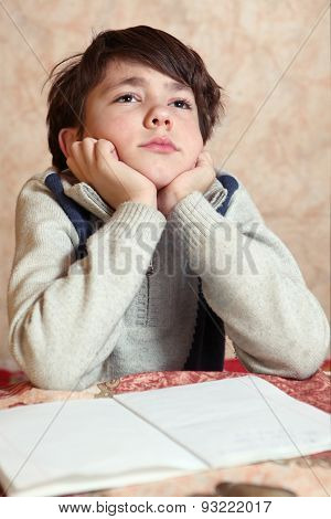 Little Preteen Boy Do His Homework Has Difficulties