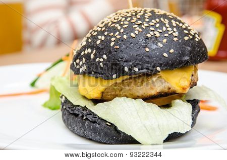 Chicken Burger With Charcoal Bun