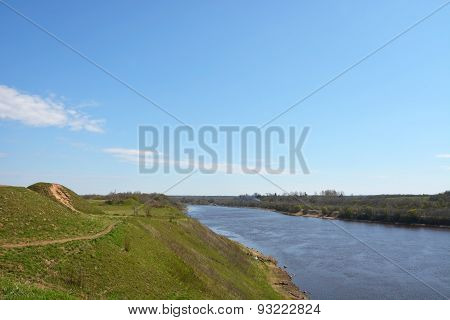Volkhov River Valley. View From The Top, Spring Season