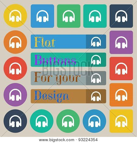 Headphones, Earphones  Icon Sign. Set Of Twenty Colored Flat, Round, Square And Rectangular Buttons.