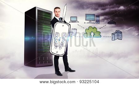 Corporate warrior against composite image of cloud computing doodle