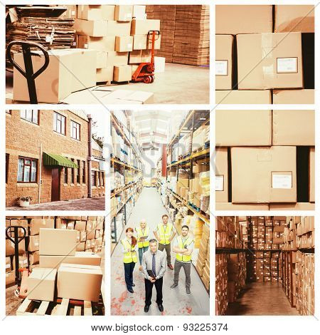 Warehouse with cardboard boxes against exterior shot of warehouse
