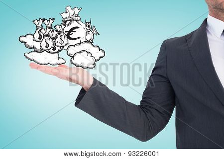 Businessman with his hand out against blue vignette background