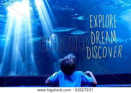 explore, dream, discover against young man looking at fish in a tank