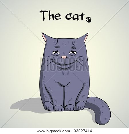 Vector Illustration of Single Cute smiling cat