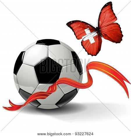 Soccer ball with ribbon and butterfly with the flag of  Switzerland