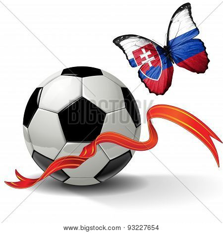 Soccer ball with ribbon and butterfly with the flag of  Slovakia