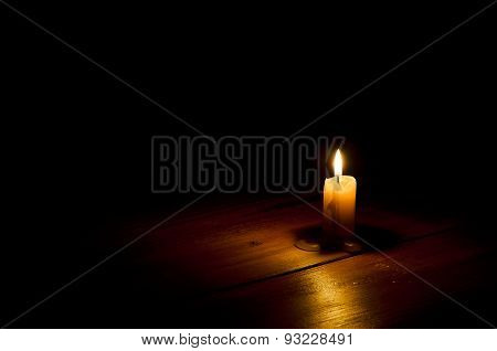Candle, Flame, Wood.