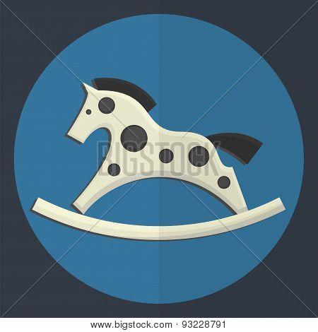 Vintage Toy Rocking Horse Icon.